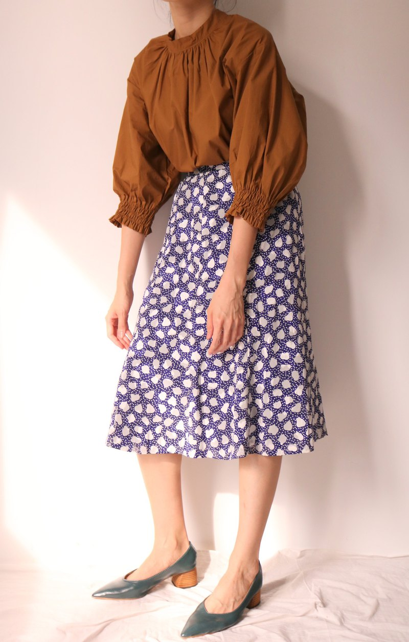 Violet Skirt Blue Violet Printed Knee Under Ankle Skirt - Vintage