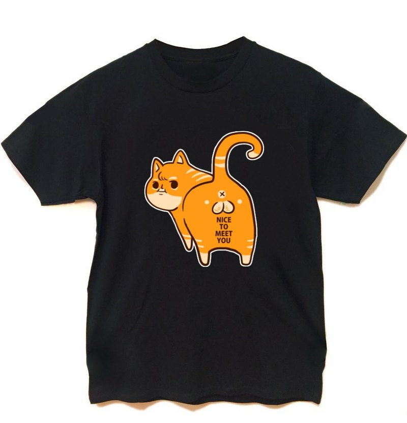 Egg Cat NICE TO MEET YOU black short-sleeved T-shirt