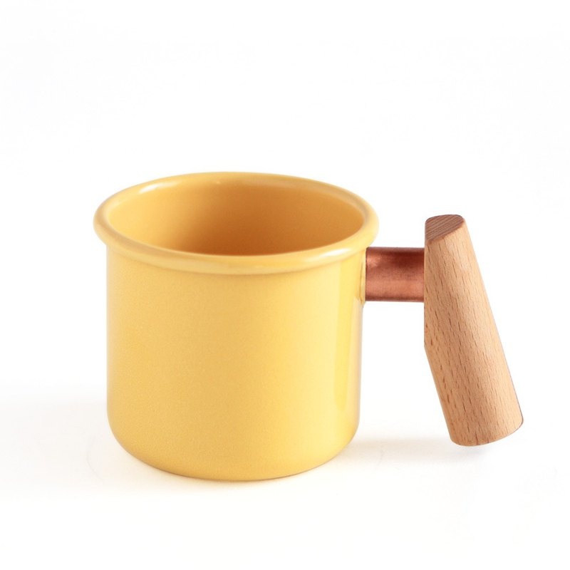 Enamel cup with wooden handle 250ml (cream yellow) Mother's Day gift