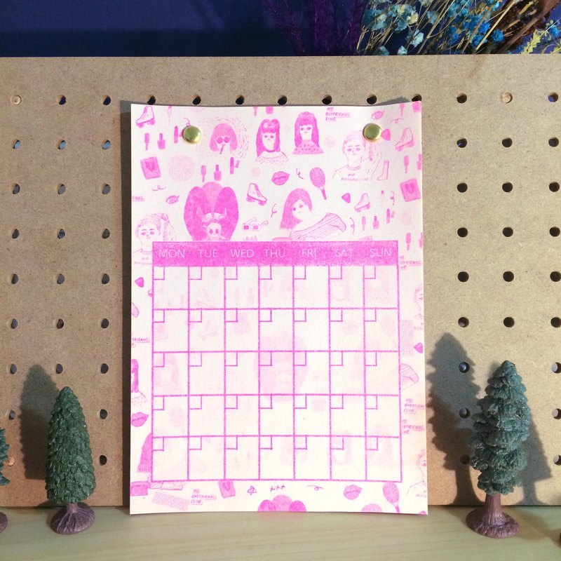 Office of the practical small things girl calendar record fluorescent powder Risograph hole printing