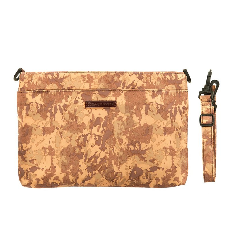 Zoila shines Christmas gifts! Desert Camouflage double-layer crossbody bag small size _ amazing capacity