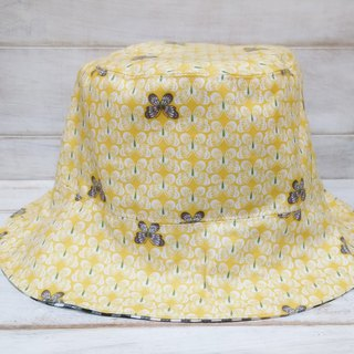 Summer lemon yellow butterfly black checkered fisherman hat visor