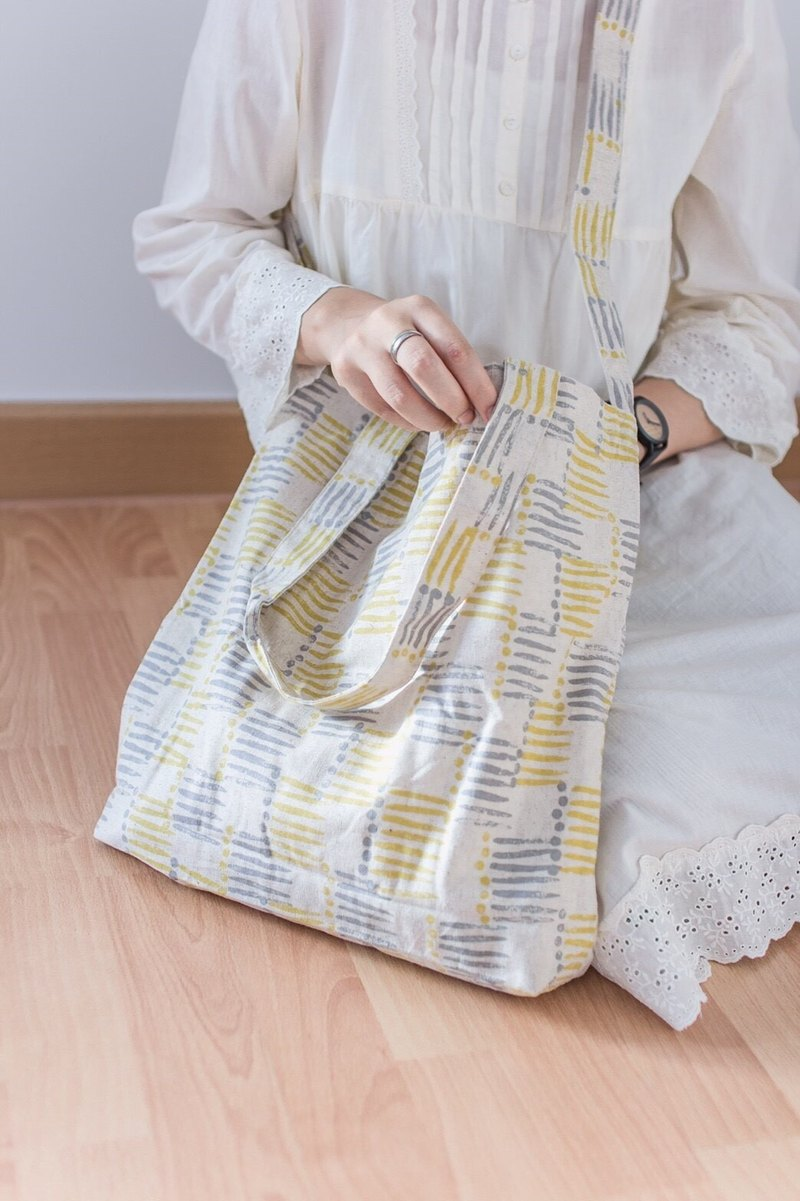 Limited Chic Vintage Natural Linen Tote Bag with Yellow/Grey Graphic Prints