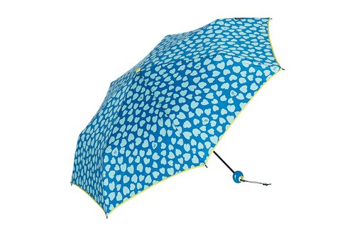 Three fold ultra-light carbon fiber hand open sun umbrella (quick-drying umbrella) - heart flower - sea blue