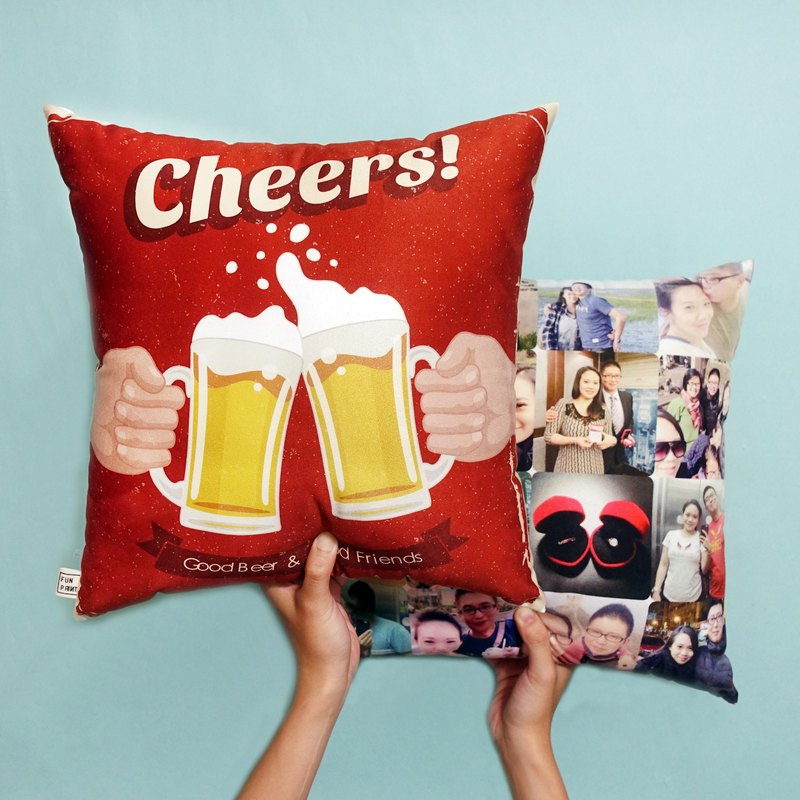 "FunPrint customize 16 grid Pillow ""Cheers""design"