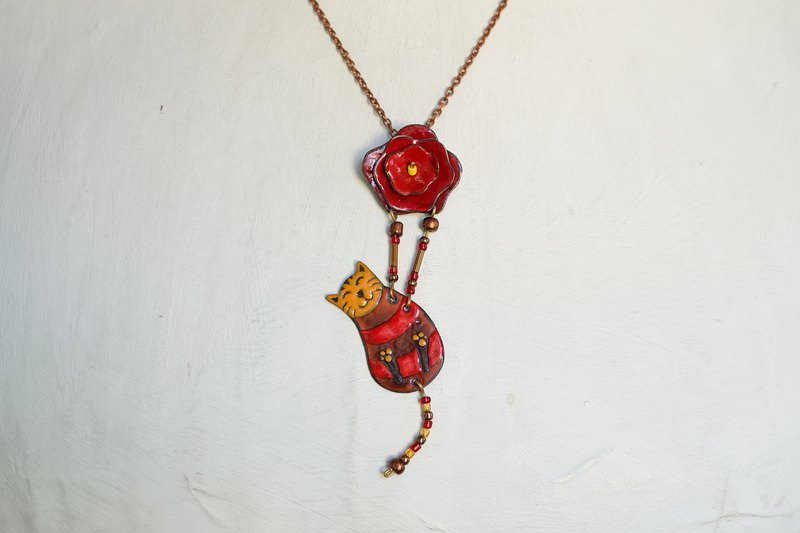 Brown Cat Red Rose, Enamel Necklace, Cat With Rose, Cat Necklace, Rose Necklace