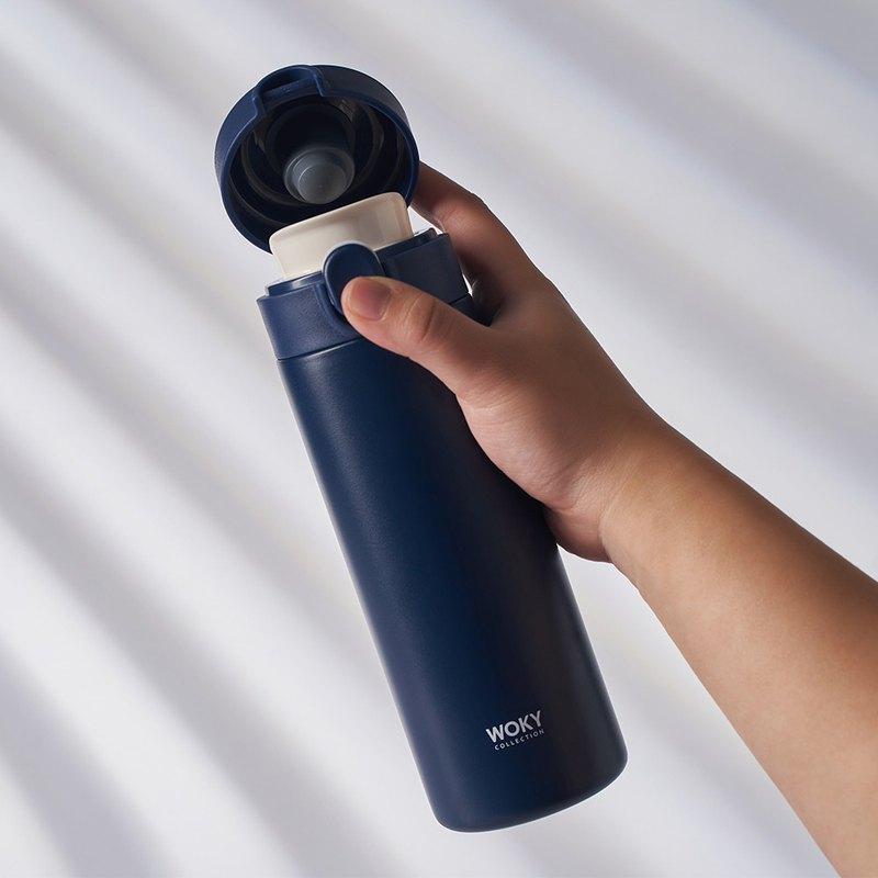 WOKY 沃廚 -輕量彈蓋陶瓷易潔層保溫瓶450ML-夜幕藍