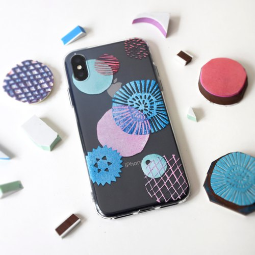 The Stamp Style Circle pattern phone case, for iPhone, Samsung, Made to Order