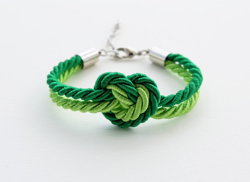 Heart knot rope bracelet in lime and green