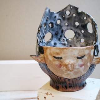 Hand made pottery elf potted flower pottery