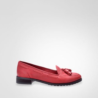 Classic red fringed loafers