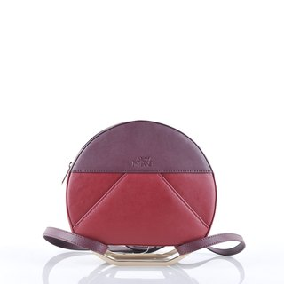 Glom 3-in-1 Bag in plum and sangria leather with gold hardware