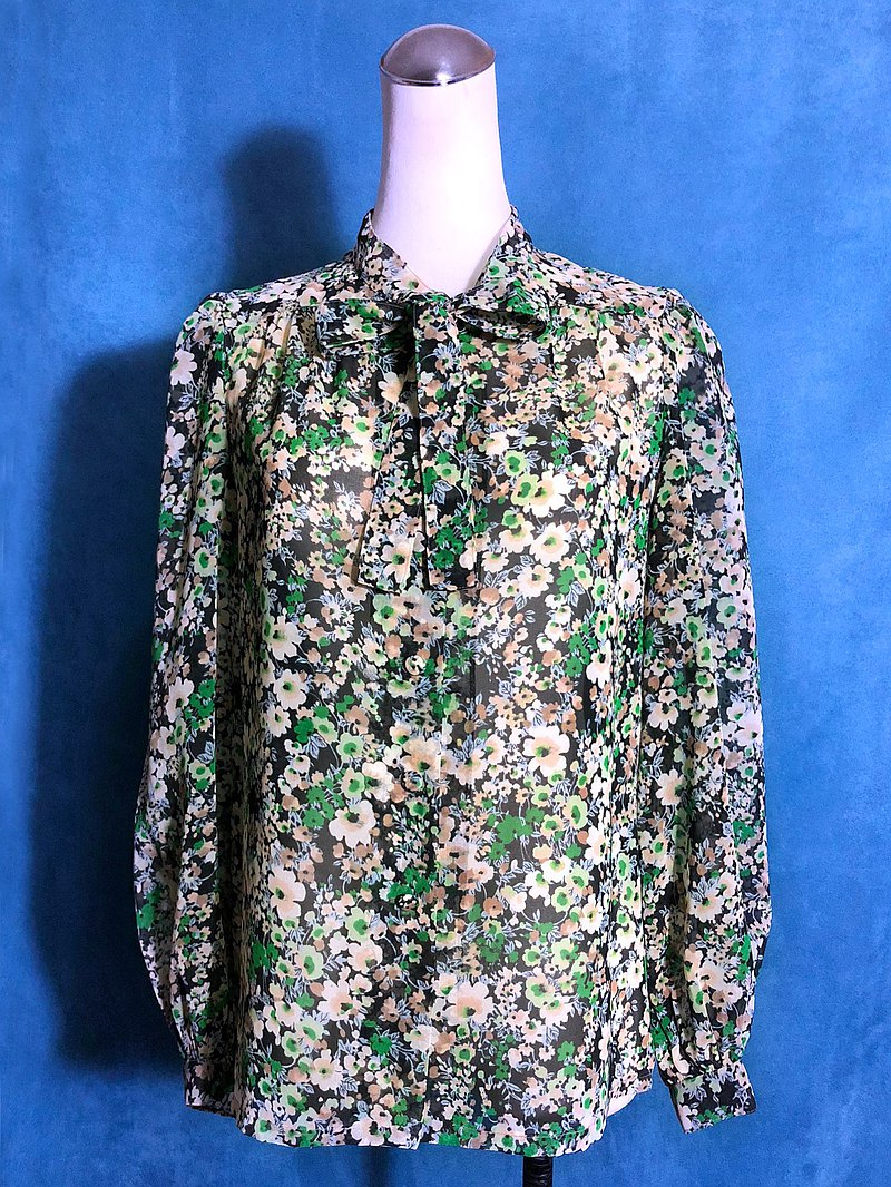 Green Field Flower Bow Tie Chiffon Long Sleeve Vintage Shirt / Bring Back VINTAGE Abroad