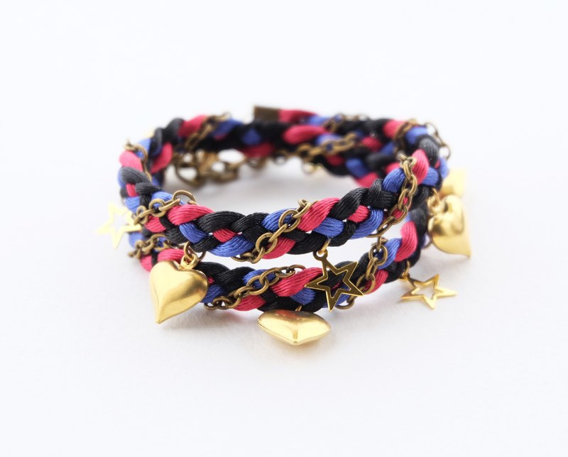 Black pink blue double layer wrap bracelet with light golden heart star charms