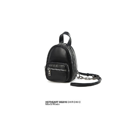 HOT HEART Sheepskin Zipper Side Backpack - Black