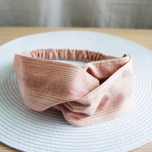 Lovely [Japan first dyed cloth] Gradual striped butterfly elastic hair band, hair ring [grey pink orange]
