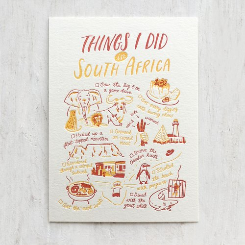 Things I Did in South Africa Letterpress Postcard