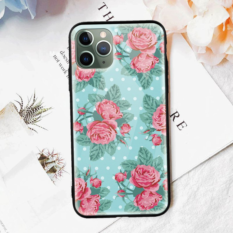 Roses in Blue Flower Glossy mobile phone case iPhone 11 Pro Max X Samsung Huawei