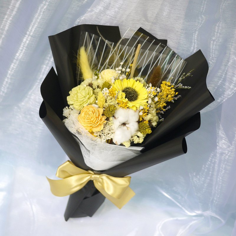 Summer forest - sunflower sun flower hand holding dry bouquet graduation