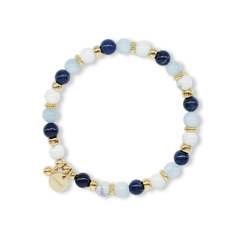 String Series Brass Soda Stone White Stone Seawater Sapphire Bracelet Natural Ore