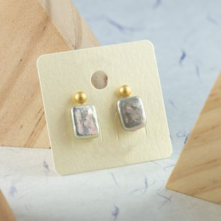 Edith & Jaz • Matt Ball Freshwater Rectangle Pearl Earrings