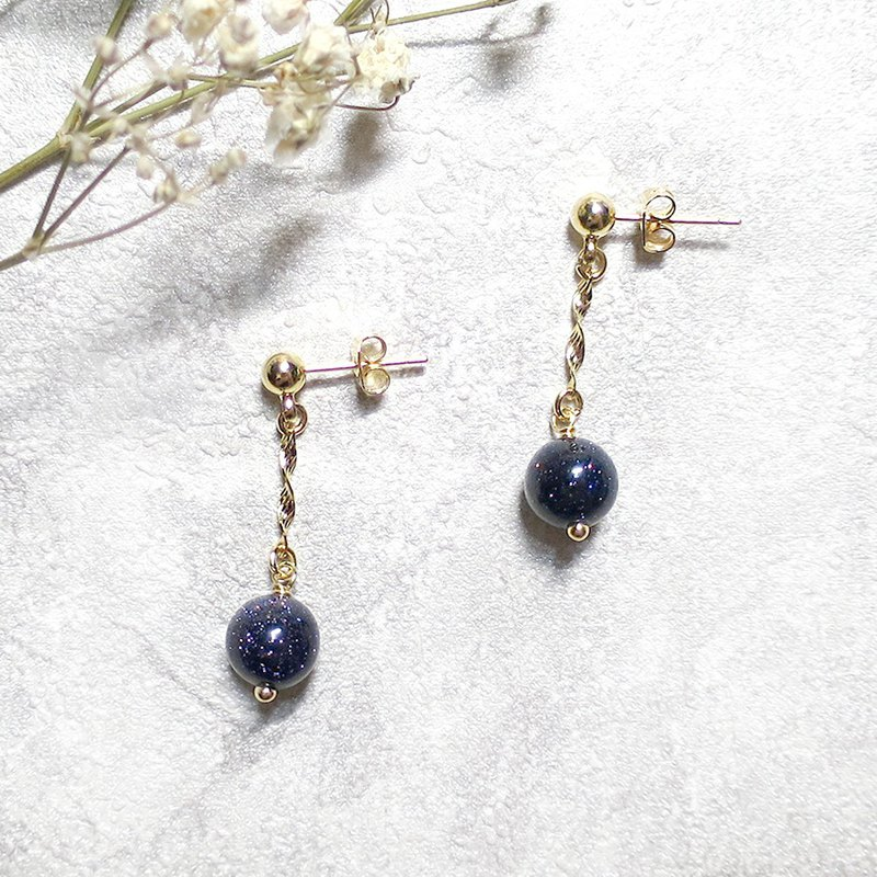 VIIART. Pegasus. Blue sandstone 18K thick gold-plated earrings - can be clipped