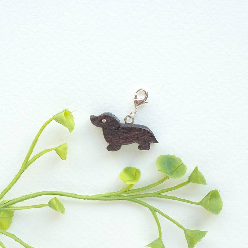 "Wood CHARM """" @ child dog sausage dog. Charm [optional gold / silver buckle]"