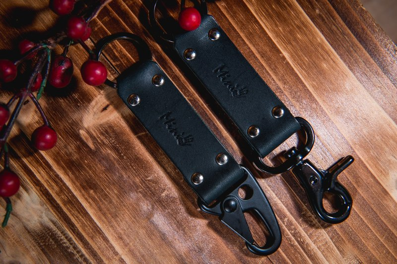 [Mini5] Knight style hard leather key ring (black)