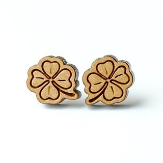 Plain wood earrings-Lucky grass