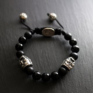 Sterling silver cry smile face beads (cut face black agate, fog black agate)
