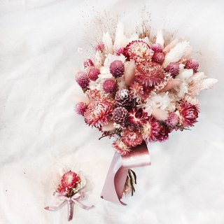 Korean romantic bouquet - pink / dried flowers bouquet / wedding photo / wedding