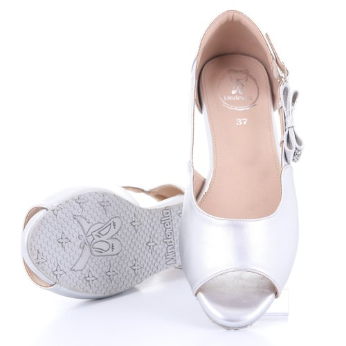 Emily open toe Ballet Silver Glitter bow Rubber Sole shoe