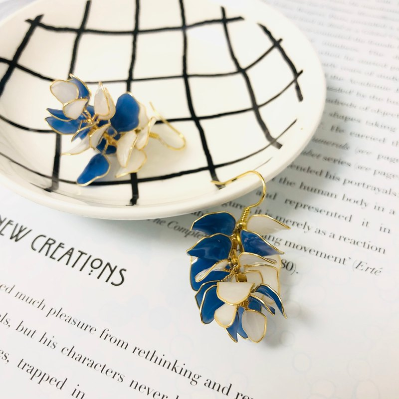 Blue and white Element Elf Handmade Resin Earrings 925 Sterling Silver