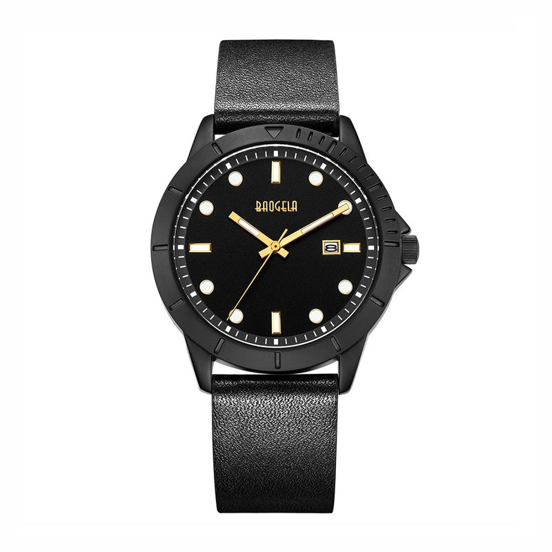 BAOGELA - DISCOVER black dial / black leather watch