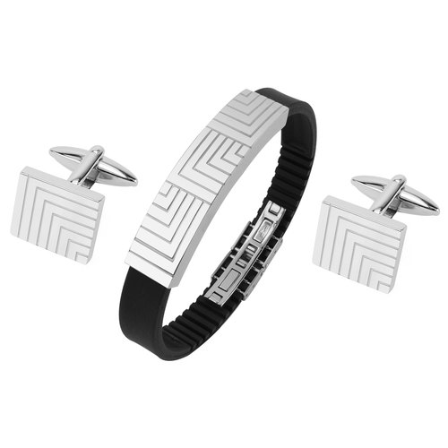 Stainless Steel Engraved Lines Cufflinks and Bracelet Set