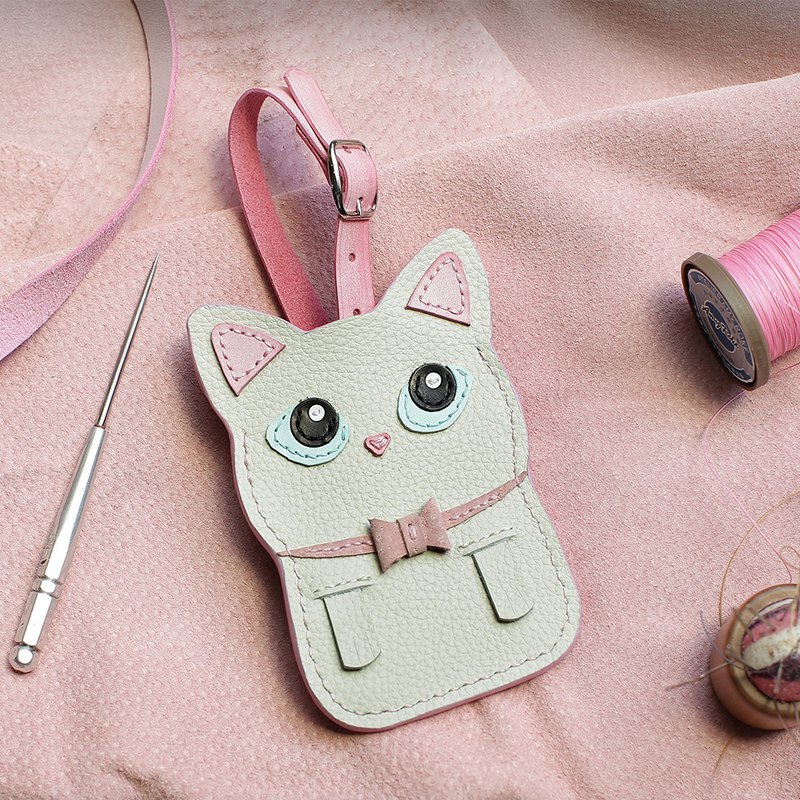 Cat-White Cat Handmade Leather ID Card Set/Yuyou Card/Identification Card Set