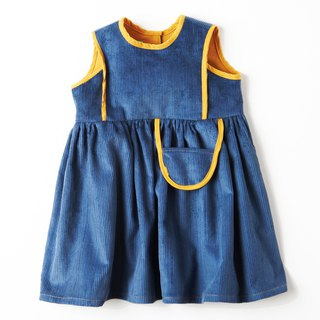 U.K. Handmade - WHAT MOTHER MADE - Mustard Round Neck Blue Dress