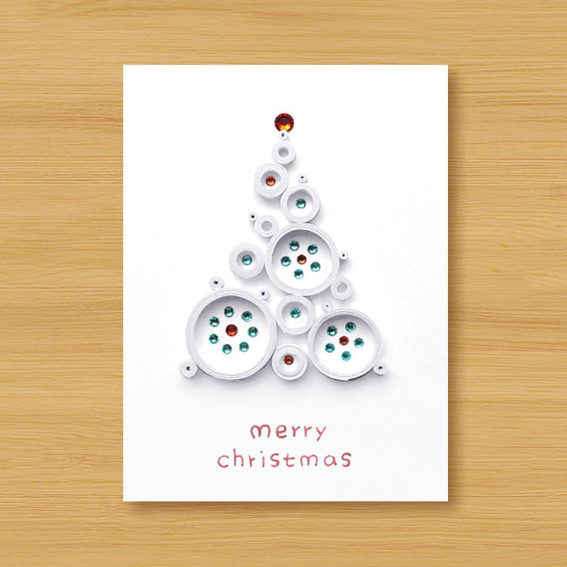 Handmade Roll Paper Christmas Card _ Blessings from afar ‧ Dream Bubble Christmas Tree _D