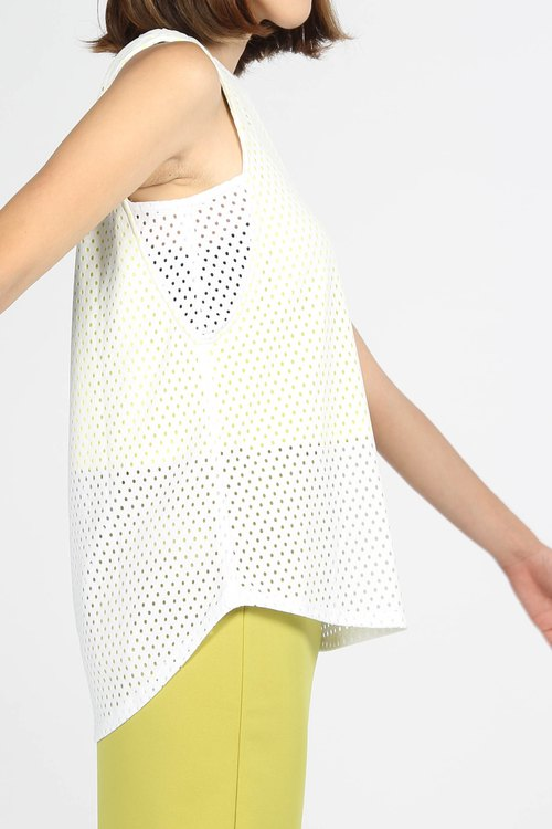 Double hole cloth breathable sleeveless shirt - Yellow