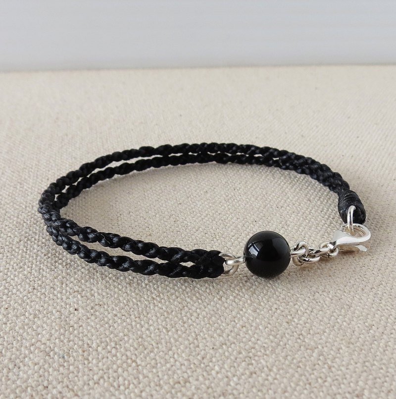 Sterling Silver*Lucky Wishing Black Diamond Silk Wax Line Bracelet*Four-strand Double-chain ~ Anti-small person [with gift box]