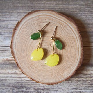 Hand-drawn series of summer lemon earrings