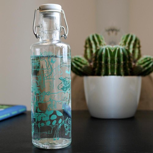Soul glass water bottle 600ml / strange zoo