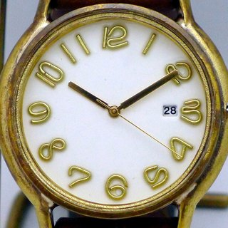 "手作り時計 Hand Craft Watch DATE""J.B.-DATE"" JUMBO Brass DATE(日付) カラーダイアル 白 [JUM31DATE WH/BR]"