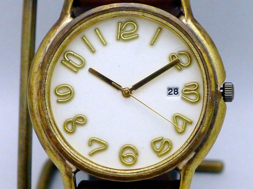 "Hand made watch Hand Craft Watch DATE ""JB - DATE"" JUMBO Brass DATE (date) Color dial white [JUM 31 DATE WH / BR]"