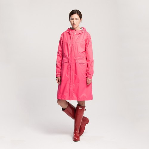 [MORR] Rainster Women Drawstring Trench Coat - Coral Red