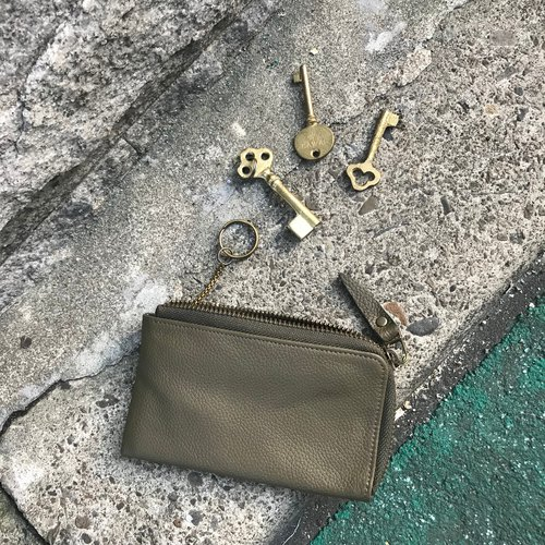 Sienna leather L zipper long key card coin purse * Key car keys and card can be extended at the same time the packet