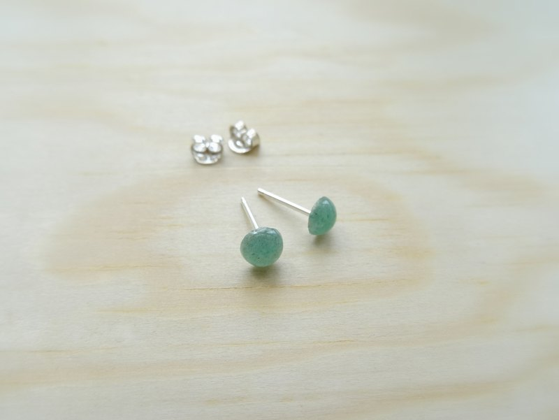 ::Daily Jewels:: Tiny Aventurine Round Cabochon Sterling Silver Stud Earrings