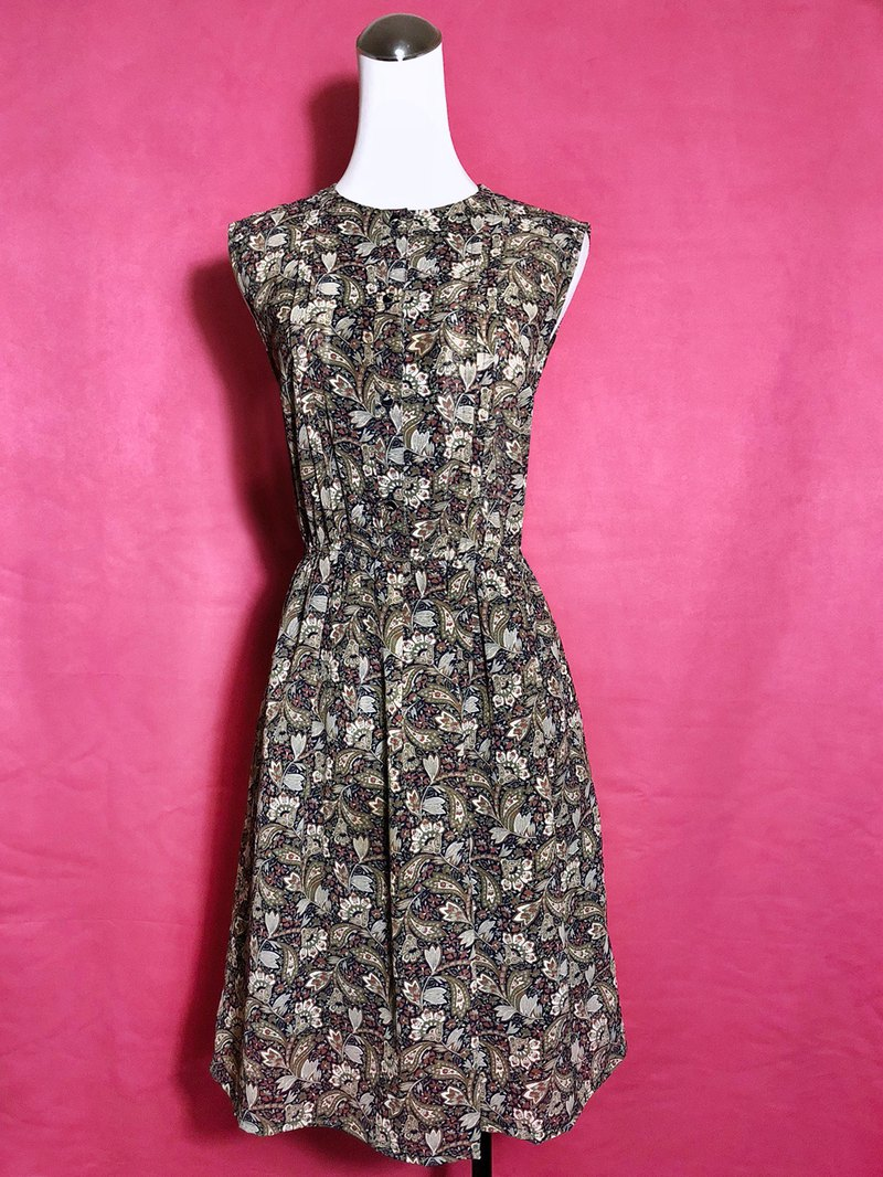 Flower sketches sleeveless vintage dress / foreign brought back VINTAGE