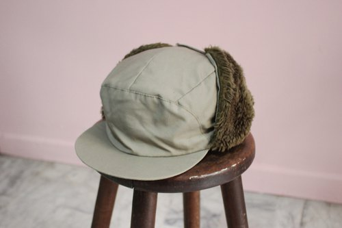 [Vintage hat] {Made in Italy} army green plush hat