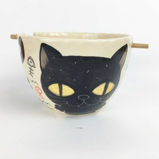 Nice Little Clay handmade bowl _ happy black cat 0201-14